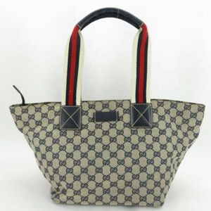 100% AUTH GUCCI GG SHERRY NAVY CANVAS LEATHER TOTE